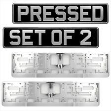 Pair Black Silver Pressed metal number plates Classic PRE 1980 + Chrome Surround