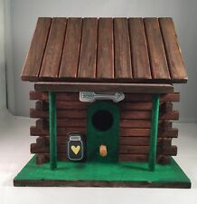Hand Painted Decorative Log Cabin Birdhouse - Perfect for Fairy Gardens