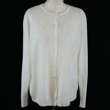Ladies Cardigan M Cream Floral Embroidered Fine Knit Summer Casual *see descript