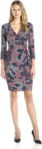 NYDJ Women's Antoinette Printed Jersey Faux Wrap Fitted Sheath Dress Size 10