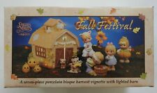 Precious Moments 732494 Fall Festival 7pc Harvest with Lighted Barn