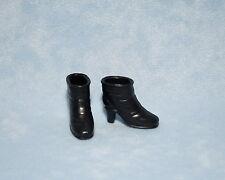 CLASSY Jet Black City Chic Half Medium Heel Boots Genuine BARBIE Shoes