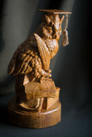 "Carved sculpture ""Scientist Owl with books"", big size"