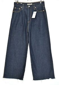 Womens Levis RIBCAGE PLEATED CROP High Waisted Wide Blue PREMIUM Jeans 10 W29