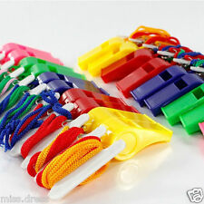 Lot of 20 Plastic Whistle & Lanyard Emergency Fast free shipping High Quality