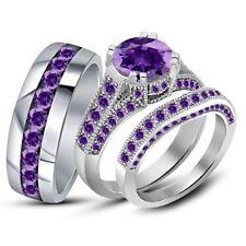 Trio Ring Set 925 Sterling Silver 2.35 Ct Purple Amethyst Engagement Wedding