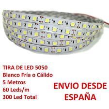 Tira de Led 5050 IMPERMEABLE Blanco Frio o Cálido Waterproof IP65 60 Led strip