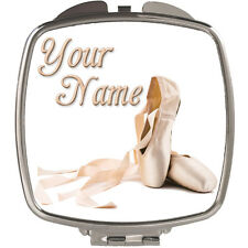 BALLET SHOES PERSONALISED LADIES / GIRLS COMPACT HANDBAG MIRROR - NAMED GIFT !!