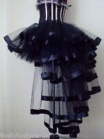NeW Black Burlesque Satin Ribbon Tutu Skirt Fancy Dress  Halloween XS S M L XL