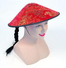Unisex Chinese #NEW anno Coolie Rosso Tessuto Cappello Oriental Costume Accessorio