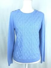 Talbots Sz MP Periwinkle Blue Cable Knit Sweater Crew Neck Button Shoulder