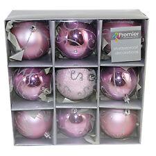 incassable Décoration sapin de Noël - 9 paquet 80mm boules - Rose