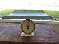 Vintage 30lb White Nursery Baby Scale Removable Tray White Blue Shabby Decor