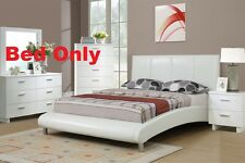 Modern 1 Pc White Faux Leather Queen Size Bed Bedroom BedFrame Furniture