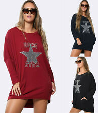 Ladies Italian Oversized Top Womens Sequin Long Sleeve Loose Casual Tunic Dress