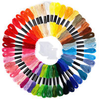 JN_ 50 Skeins Rainbow Color Embroidery Thread Cross Stitch Floss with 12 Bobbi
