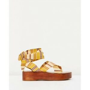 Tigerlily Size 40 9 NEW Sandals Wedges Yellow Fabric Ankle Tie RRP$140 Designer