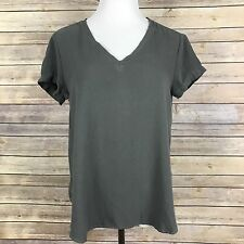 Cloth & Stone Medium Gray V-Neck High Low Rayon Short Sleeve Shirt M