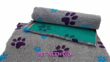 NEW VET BED - GREEN BACKED - GREY WITH PURPLE AND TEAL PAWS