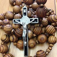 "Wall ROSARY Giant Big Beads Rosario Natural Wood Jesus Metal Cross XL Large 40"""
