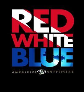 Amphibious Outfitters T-shirt - Scuba Diving - Red White Blue - Black -D0210B