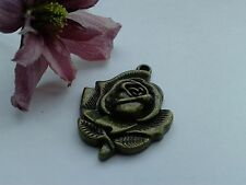 Antique Bronze Rose Charms 6pcs Design 2 Vintage Flower Pendants Kitsch