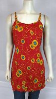 Bali Girl Red Blue Yellow Cover Beach Tunic Top Dress Women's Size Medium Large