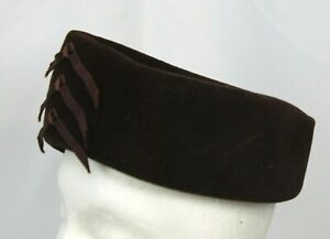Vtg Peachbloom Velour Pillbox Hat Cap Retro Brown 60s Merrimac Union Juliet 1 Sz