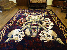 Skull Biker Area Rug Harley Tapestry Patch Memento Mori Ring by UNIQABLE