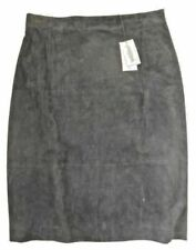Jaeger Black Suede Skirt - Size UK 16