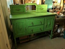 Antique Mirrored Sideboard in Annie Sloan Antibes Green - Drawers Cupboard Table