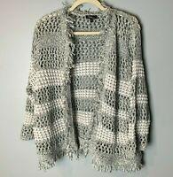 Cupio Women's Open Cardigan Size 2X Open Weave 3/4 Sleeves Gray White Fringe