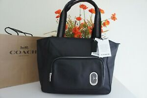 NWT Coach C5049 Nylon and Pebble Leather  Court Tote Black $350