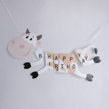 happy birthday cow paper banner hanging diy party decor bunting suppl DD