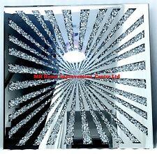 Diamond Crush Crystal Sparkly Silver Mirrored Wall Hanging Art Starshine 70x70cm