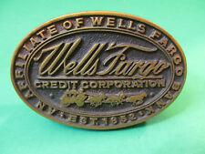Vintage Wells Fargo Credit Corporation Wood Business Card Holder