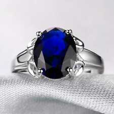 CNL151 Handmade 6.80CT Natural Sapphire 14K White Gold Ring Size US 7