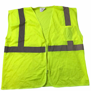 Hi Vis 3M Visibility Safety Reflective Vest Lime Neon Yellow Silver Stripes XL