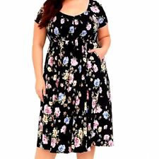 Torrid Floral Smocked Dress 3X Plus Size Black Midi Summer Pink Blue Casual Tan