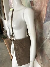 The Sak Saks Fifth Avenue Beige Woven Purse Shoulder Bag Handbag Sack