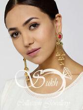 Exclusive Indian Bollywood Gold Tone Fashion Pearl Jhumki Earring Kundan Jewelry