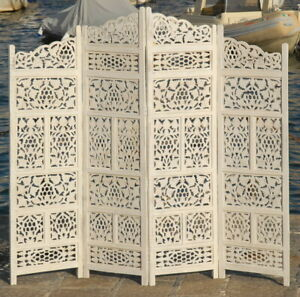 PARAVENT 4 PANEL WOODEN SCREEN ROOM DIVIDER OTHER MODELS AND COLOUR IN STOCK SW