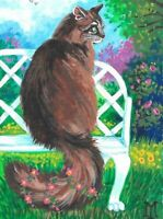 1.5x2 DOLLHOUSE MINIATURE PRINT OF PAINTING RYTA 1:12 SCALE MAINE COON CAT ART