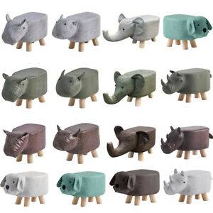 Animal Shaped Ottomans & Footstools Faux Leather Wood Legs Child Christmas Gift