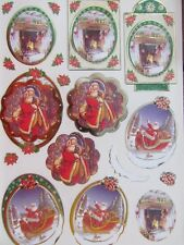 Stunning Christmas Gold Embossed Paper Tole Santa Fireplace 3 Pictures NEW