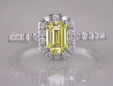 Diamond Ring Emerald Cut Natural Fancy Yellow 1.32ct GIA Certificated