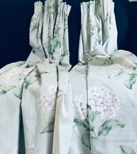 COUNTRY HOUSE LAURA ASHLEY HYDRANGEA CURTAINS 2.5M OF VTG FLORAL FABRIC