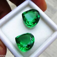15.4 Ct VIBRANT CHROME GREEN BIRON SIMULATED EMERALD PEAR FOR EARINGS 12 x12 mm