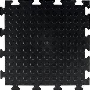 Studded Surface Black Garage Flooring Interlocking Vinyl / PVC Heavy Duty Tile