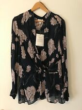 Witchery Ladies New Faux Wrap Navy Blue and Blush Blouse with Camisole Size 14